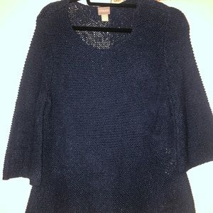 Chico's Navy knit top short sleeve